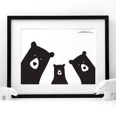 Personalised Bear Family Selfie Portrait Print