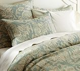 I love how soothing these colors are... it would look great on worn/natural wood bed frame.
