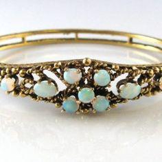 Vintage Opal and Gold Bangle 14k Gold Bracelet, Gold Bangles, Bangle Bracelet, Bracelets, Diamond Rings, Diamond Engagement Rings, Galway Ireland, Opals, Unique Vintage