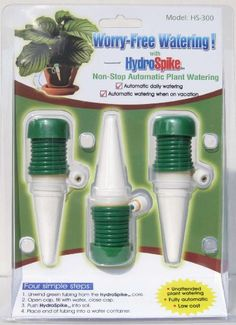 Hope this solves my vacation worries about plants. HydroSpike Worry-Free Automatic Watering - The Home Depot Automatic Watering System, Plant Watering System, Water Containers, Container Plants, Fertilizer For Plants, Free Plants, Self Watering, Water Plants, Glass Globe