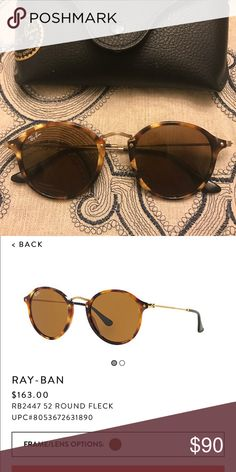Ray-Ban Round Fleck Sunglasses In perfect condition! Ray-Ban Accessories Sunglasses