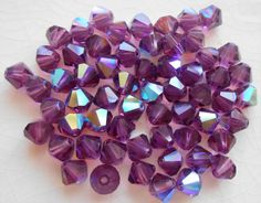 Lot of 24 6mm Amethyst AB Czech Preciosa Crystal bicone beads, faceted glass purple AB bicones C60101