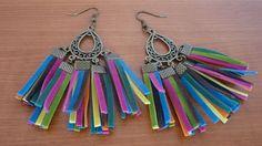 Handmade Tassel Earrings Colorful Mexicam Style Fasnshion Designer Inspired Brass Bronze Summer Festive Carnaval Statement DIY