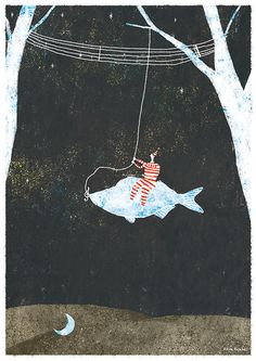 Night fishing by Akira Kusaka, via Behance