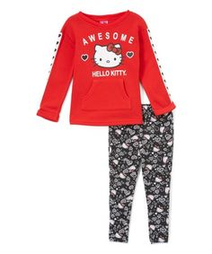 The charming Hello Kitty designs of this cozy sweatshirt and the matching leggings offer easygoing vibes for your little one's casualwear wardrobe. Girls In Leggings, Black Leggings, Hello Kitty Clothes, Red S, Casual Wear, Long Sleeve Shirts, Pajama Pants, Graphic Sweatshirt, Sweatshirts