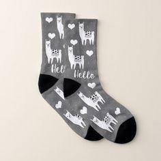 Shop Trendy Llama Sketch & White Dots Hello Socks created by GrudaApparel. Funky Socks, Cute Socks, Llama Socks, Sock Animals, Girly Gifts, Black And White Style, Diy Stuffed Animals, Pet Gifts, Christmas Card Holders