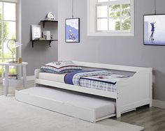 Single 3ft Day Bed White Frame With Trundle Solid Wood Daybed New