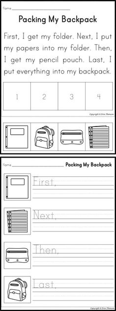 Teach Your Child to Read - Packing My Backpack Sequencing Story ~ Perfect for Back to School! - Give Your Child a Head Start, and.Pave the Way for a Bright, Successful Future. 1st Grade Writing, First Grade Reading, Kindergarten Writing, Student Reading, Teaching Writing, Literacy, Help Teaching, Kindergarten Worksheets, Teaching Resources