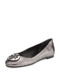 156bed257 Tory Burch Reva Metallic Leather Ballet Flat
