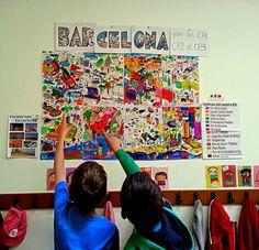 Mural OMY de Barcelona para conocer la ciudad y los lugares más destacados de BCN en la escuela. Busca en el mapa, clava banderas, juega al veo veo...