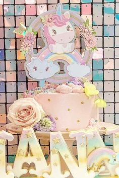 Take a look at this stunning unicorn birthday party! The birthday cake is magical!  See more party ideas and share yours at CatchMyParty.com #catchmyparty #partyideas #unicorns #unicornparty #girlbirthdayparty #unicorncake Unicorn Birthday Parties, Unicorn Party, Birthday Cake, Birthday Cakes, Cake Birthday, Birthday Sheet Cakes