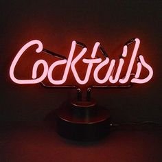 Cocktails Neon Sculpture lamp Martini cock tails sign vintage Bar bachelor pad