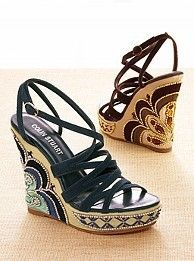 embroidered wedge sandals - Would look good with my embroidered flare jeans