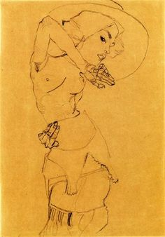 Standing Nude with Large Hat (Gertrude Schiele), 1910 by Egon Schiele. Expressionism. nude painting (nu). Private Collection