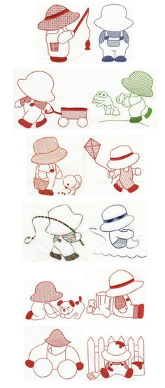 Embroidery | Free machine embroidery designs | Sunbonnet Sam Redwork 5x7