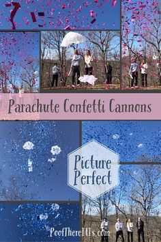 NEW* Gender Reveal Idea! Stork Parachute & Confetti Cannons for the Picture Perfect Reveal. Unique gender reveals only at poofthereitis.com