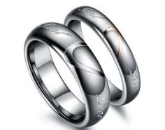 High-Grade Tungsten Carbide Heart Puzzle Couple Rings Wedding Band Rings Tungsten Engagement Rings Promise Rings Matching Rings.
