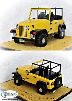 Yellow Jeep Grooms Cake