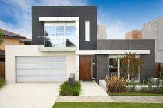 Fachada de casa moderna de 2 pisos