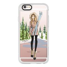 iPhone 6 Plus/6/5/5s/5c Case - Ski Girl (Fashion Illustration Phone... ($40) ❤ liked on Polyvore featuring accessories, tech accessories, iphone case, apple iphone cases, iphone cover case and iphone hard case