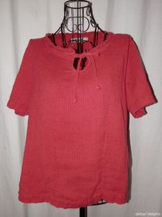 FLAX TOP M Medium Solid Red Short Sleeve Scoop Neck Keyhole LINEN #Flax #Blouse #Casual