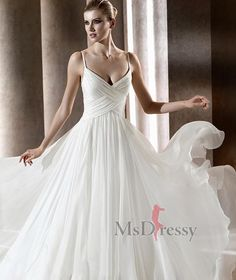 wedding dresses   Love the way this flows and the cut of the bodice
