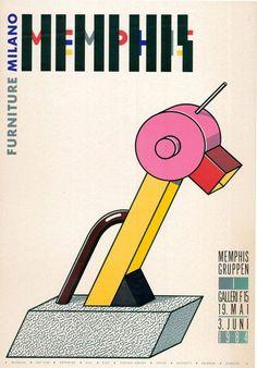 1984 Memphis Furniture poster (Tahiti Lamp, designed by Ettore Sottsass) Memphis Design, Memphis Art, Memphis Milano, Layout Design, Design Art, Graphic Design, Memphis Furniture, Peter Shire, Nathalie Du Pasquier