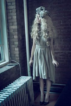 Allison Harvard  by David Phelps  Styled by Judson Harmon and Nathaniel Visneaskus  Makeup by Natalia Ramirez  Hair by Isaac Davidson www.wigbar.com  Scarf by Improv'd  Dress by Rick Owens