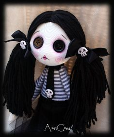 Velenia handmade creepy cute zombie goth cloth doll by AresCrea