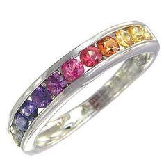 Multicolor Rainbow Sapphire Half Eternity Band by RainbowSapphire