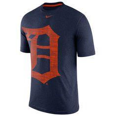 Men's Detroit Tigers Nike Navy Tri-Blend Balt Logo T-Shirt
