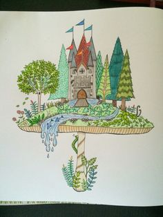 Mushroom With Castle From Johanna Basford Enchated Forest