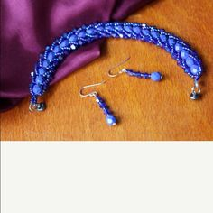 bright blue hand beaded flat spiral jewelry set 7 inch bright blue hand beaded flat spiral bracelet with magnetic clasp and matching earrings with sterling silver hooks Handmade Jewelry