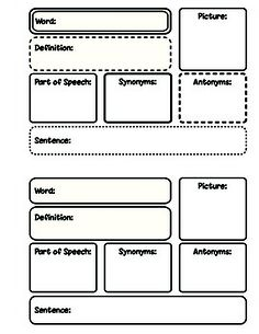 FREE Word Work-Vocabulary Pages