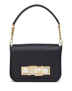 Baguette Calf Leather Shoulder Bag, Black