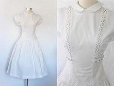 1950s White Dress / Vintage 50s Flair Sportlane Juniors White Pique Waffleknit Cotton Full Skirt Day Dress Pom Pom Trim Rockabilly