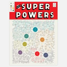 """Super Powers Art Print by Pop Chart Lab ~ """"This lovely infographic print features over 300 heroes, anti-heros, villains, and beasts! Literally everything you could ever want to know about Super Powers good and bad, all on one beautiful poster. T Power, Power Map, Superman, Batman, This Is A Book, Just In Case, Hulk, Pop Culture, Avengers"""