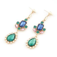 Zinc Alloy Drop Earring with Glass real gold plated faceted & with rhinestone lead & cadmium free Sold By Pair