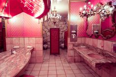 Bathroom, at the legendary Madonna Inn, San Luis Obispo, California. We stopped here on our ongoing search for unusual restrooms..