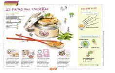 Les nems aux crevettes. Recette pour les enfants à base de crêpes de riz, de crevettes et de miettes de crabe. Pour les enfants de 7 à 11 ans. (Extrait du magazine Astrapi n°800)