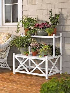 Cottage Plant Stand | Two Tier Plant Stand for Indoor or Outdoor Use