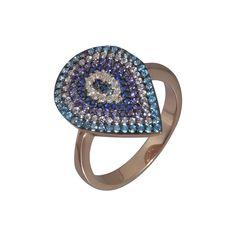 Δαχτυλίδι από ασήμι 925  με επιχρύσωμα ροζ GOLD με χρωματιστά ζιργκόν e8a53b10577