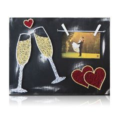 Wedding Champagne Picture Frame String Art Kit Beautiful wedding decor or great gift idea for those crafters you know. Arts And Crafts For Adults, Fun Arts And Crafts, Crafts For Girls, Arts And Crafts Movement, Arts And Crafts Projects, Wedding String Art, String Art Diy, String Crafts, Arts And Crafts Interiors