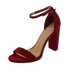 - Faux suede upper in red - Strap ankle with adjustable buckle up closure - Open toe design - Soft interior lining for a good shoe feel - Non Skid lightly cushion footbed for all day comfort - Wrapped