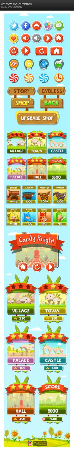 《Candy Knight 》IOS a... Game Design, Menu Design, Game Interface, Interface Design, Mobile Game, Mobile Ui, Casual Art, 2d Game Art, Hand Painted Textures