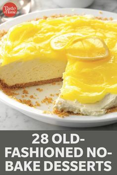 28 Old-Fashioned No-Bake Desserts Potluck Desserts, Easy Summer Desserts, Desserts For A Crowd, Easy No Bake Desserts, Winter Desserts, Lemon Desserts, Delicious Desserts, Dessert Recipes, Yummy Food