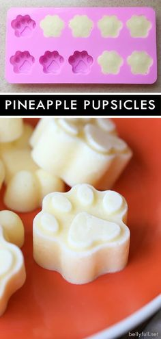 These Pineapple Pupsicles are homemade frozen dog treats your fur baby will love! Easy, healthy, frozen, and refreshing - perfect for summer or any time! Puppy Treats, Diy Dog Treats, Homemade Dog Treats, Healthy Dog Treats, Dog Biscuit Recipes, Dog Treat Recipes, Dog Food Recipes, Dog Popsicles, Frozen Dog Treats