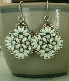 Linda's Crafty Inspirations: Circles & Squares Earrings - Mint & Pewter