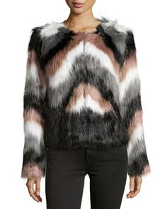 Chevron Faux-Fur Jacket, Brown/Multi by John & Jenn at Neiman Marcus Last Call.