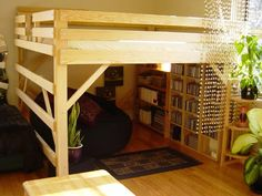 Plans of Woodworking Diy Projects - DIY Loft Bed Plans Free Bunk Beds With Stairs, Kids Bunk Beds, Lofted Beds, Loft Bed With Curtains, Low Loft Beds For Kids, Bed Stairs, Bedroom Curtains, Small Rooms, Small Spaces